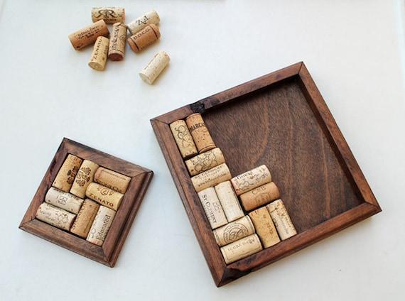 Rustic wood trivet coaster kit diy wine cork kit reclaimed for Diy rustic coasters