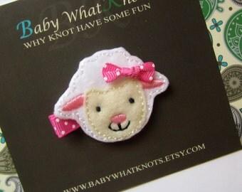Sheep Hair Clip, Baby Hair Clippies, Farm Animal Girl Barrette, hcsheep01
