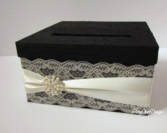 Wedding Card Box Custom Envelope Card Holder Lace Black and Ivory Handmade Silk Card Box