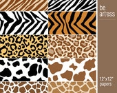 Animal Print Digital Paper Collection for Personal & Commercial Usage - 10 animal papers / 12x12 inches - P0040