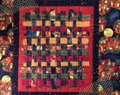 Halloween Decor, Small Wall Quilt, Wall Art, Halloween Quilt, Orange Gold Black Quilt, Quiltsy Handmade