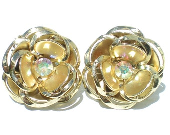 Vintage Clip On Earrings with Golden Flowers with Aurora Borealis Rhinestones & Tiered Petals - Floral Vintage Jewelry