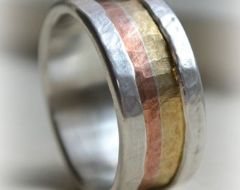 mens wide band ring - Marriage of Metal fine silver with copper and brass - handmade artisan designed wedding band - silver lining
