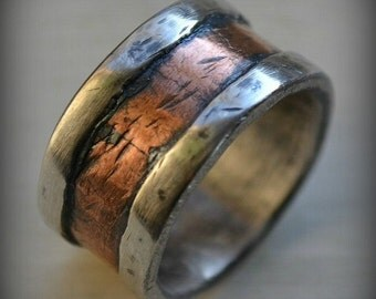 mens wedding band - rustic fine silver and copper - handmade hammered artisan designed wide band ring - manly ring - customized