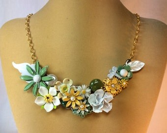 Flower Necklace, Summer Necklace, Vintage Assemblage, Statement Necklace, Enamel