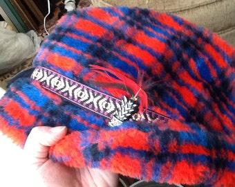 Vintage Men's Winter Hat Winter Cap Red Blue and Black With Ribbon Band In Purple, Pink and Yellow