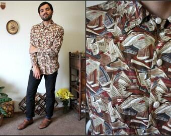 Vintage Liz Wear 90s Library Books Print Long Sleeve Shirt w/ Pearl Buttons Sz Medium