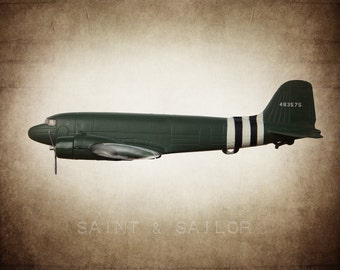 Dc3 etsy vintage wwii douglas dc3 transport plane on vintage brown background photo print boys room sciox Image collections
