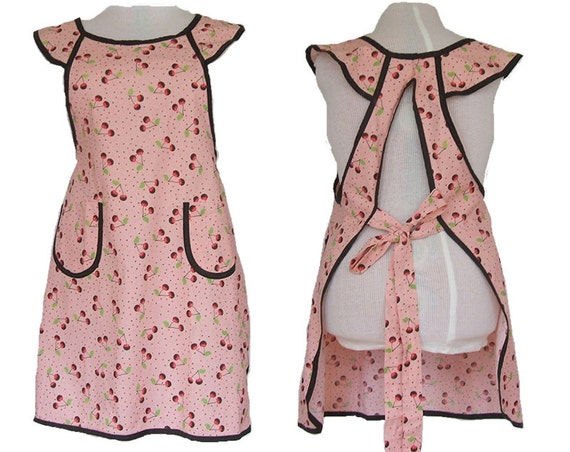 Plus size Apron - Chocolate Covered Cherries full figure kitchen apron - fits sizes XL to 2X