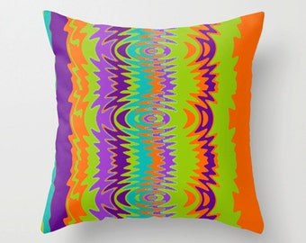 Modern Pillow, Groovy Orange & Purple Pillow,Fun Pillow, Modern Pillow, Funky Throw Pillow, Modern Throw Pillow