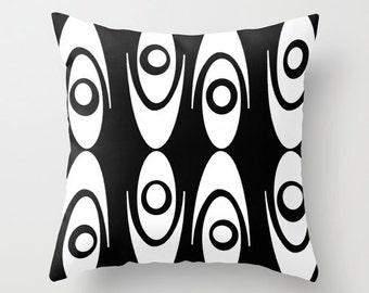 Modern Pillow, Modern Throw Pillow,  Mod Black & White Throw Pillow, Mod Pillow, Mid Century  Modern Pillow,  Mod Cushion