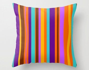 Throw Pillow Cover, Purple Striped Pillow Cover Mid Century Modern Throw Pillow Cover, Cool Pillow Cover, Decorative Pillow Cover