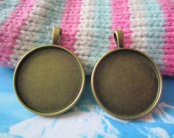 10pcs  27mm antiqued bronze round bezel pendant blanks