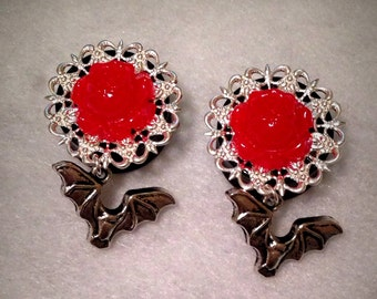 Filigree Rose Plugs with Bat Dangle (1/2, 9/16, 5/8 & 3/4)