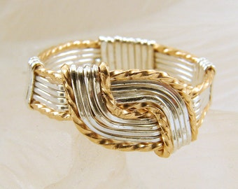 Mixed Metal Sterling Silver and Goldfilled Wire Wrapped Hug Ring - Any Size