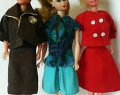 Three Handmade Barbie Size Outfits
