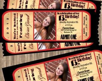 Movie Night Ticket Birthday Printable Invitation