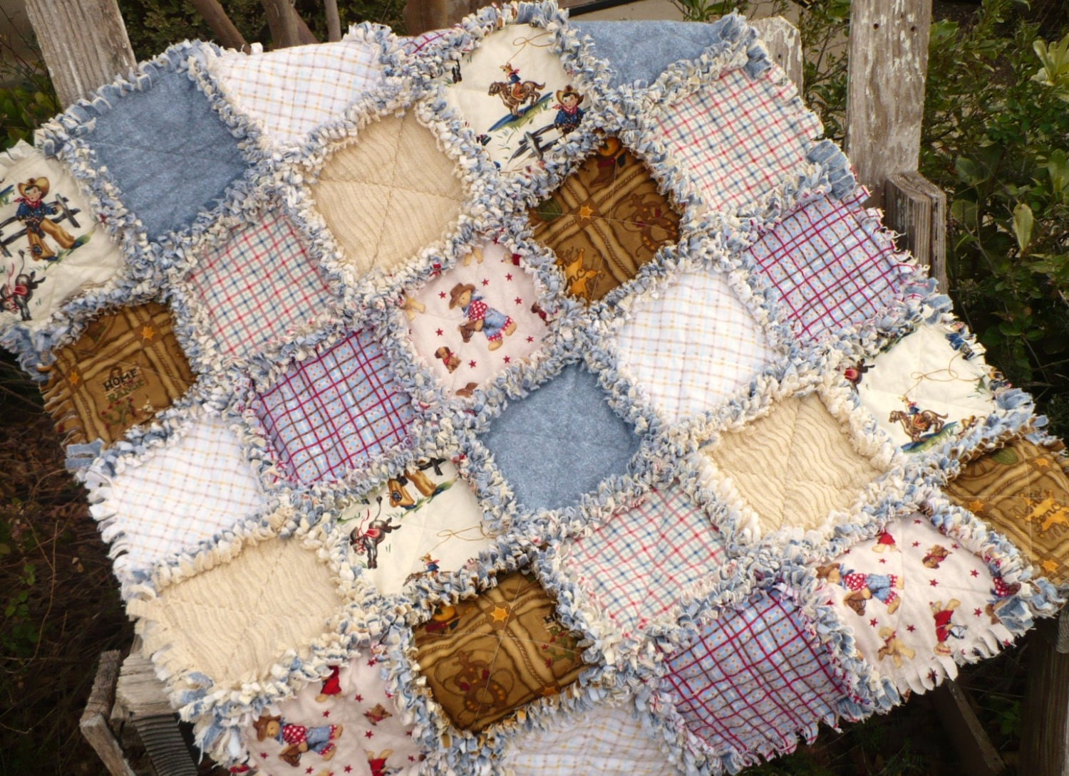 Little Cowboy Baby Boy Rag Quilt Western Plaids And Denim