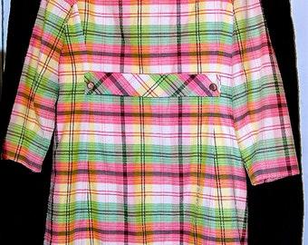 Vintage 1960/1970 Spring Plaid Dress Suit Coat and Dress size 16