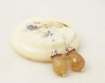 Quartz Earrings, Tear Drops Earrings, Gemstone Earrings, UK Seller