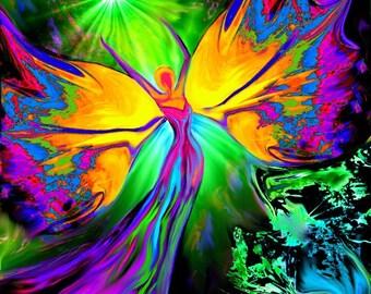 "Angel Art, Chakra Angel, Meditation Wall Decor ""From Dark to Light"""