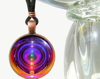 "Chakra Necklace, Rainbow Reiki Jewelry, Spiritual Energy Art Pendant ""Chakra Alignment"""