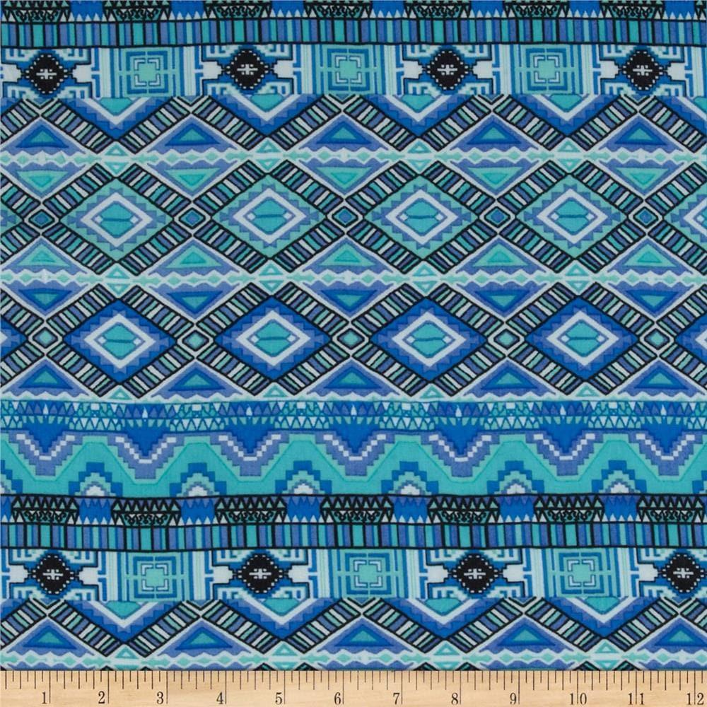 Tribal print Chiffon blue tones fabric per yard/ Clothing/