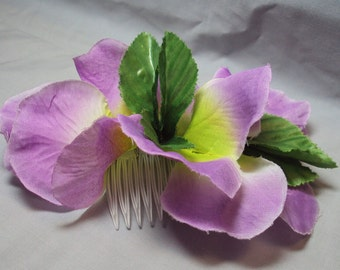light purple green leaves floral thick hair comb