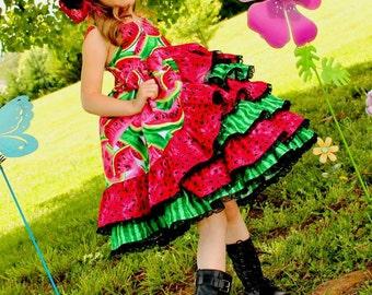 Girls Watermelon Dress, Girls Watermelon Pageant Dress, Watermelon Dress, Girls Summer Dress, Girls Ruffle Dress, Girls Dress, Rosie Posie