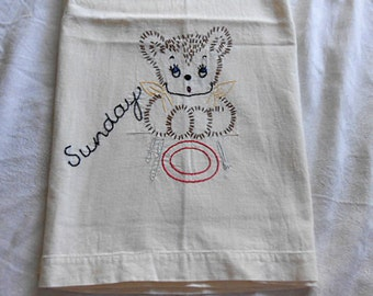 Vintage TEDDY BEAR Sunday TEA Towel, Darling Embroidered Hungry Brown Cub Yellow Bib Red Plate, 1930s Child's Farmhouse Muslin Feedsack xl