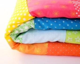 Rainbow Modern cotton Quilt  Baby Blanket - baby shower gift, Easter gift