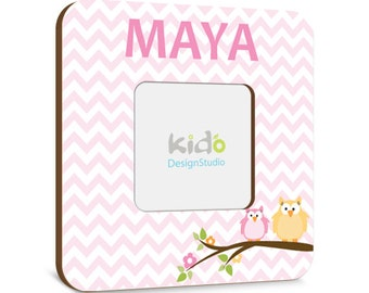 Pink Chevron Girls Photo Picture Frame with Owls on Tree, Add Any Birth Information You Like, Personalized Pink Frame