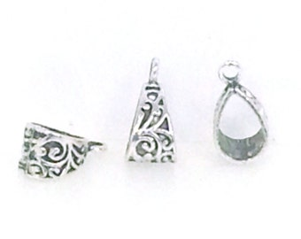 Pendant Bail, Pewter Necklace Bail, Antique Silver Findings, Lead Free, 20x10mm, Lot Size 8 to 50, #1063