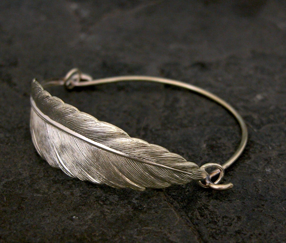 feather bracelet bangle bracelet silver feather bangle