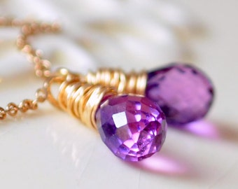 Purple Gemstone Earrings, Threaders, Orchid Pink Lab Kunzite, Quartz Teardrops, Sterling Silver or Gold Filled Jewelry, Free Shipping