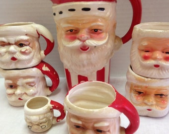 Vintage Set of 6 Santa Mugs with Santa Pitcher
