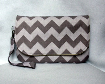 Gray Chevron Diaper Clutch with Yellow Lining - Gray and Yellow Diaper Bag