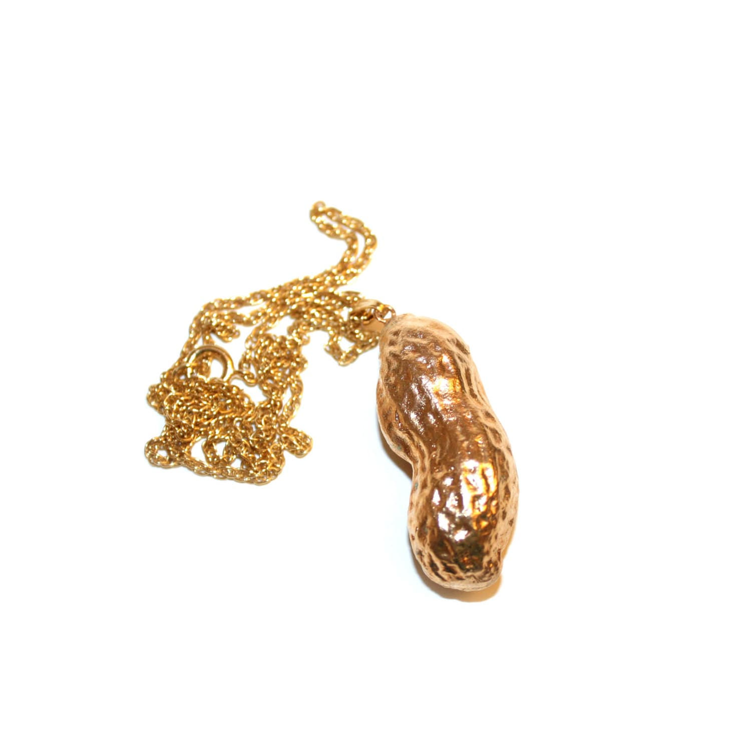 vintage gold dipped peanut necklace real peanut dipped in