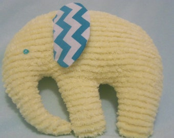 New Stuffed Elephant, Yellow Chenille Turqouise Chevron Ears