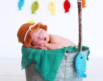 Gone Fishing Newborn Baby Boy OR Girl Photo Prop Hat AND Fish Banner Set