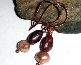 Cranberry Red Freshwater Pearl Earrings Copper June Birthstone earthegy