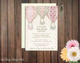 Baby Shower Invitation - Shabby Chic Hot Air Balloons and Damask Background