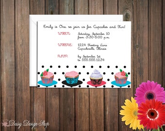 Birthday Party Invitations - Cupcakes and Polka Dots - Set of 20 with Envelopes