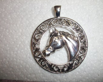 silver horse pendant and charm