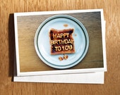 Unique Birthday CARD, Alphabet Spaghetti Card, Spaghetti Letters on Toast Birthday Card, Quirky Birthday Card, Vintage, Cute Birthday Card