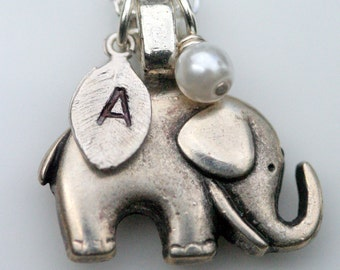 Personalized Initial Elephant Necklace Swarovski Pearl Silver Lucky Charm Family