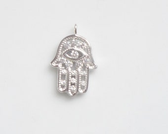 Sterling silver hamsa hand charms with eye and cz  (15x10mm)