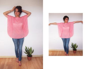 Mini Caftan tunic, Pink blouse, with flowers detail in devore, chewing gum pink camisole, tunic blouse, poncho,  vampire sleeves style