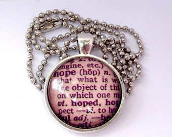 Shop closing . HOPE dictionary meaning necklace. Antique  frame and chain. Dictionary meaning.
