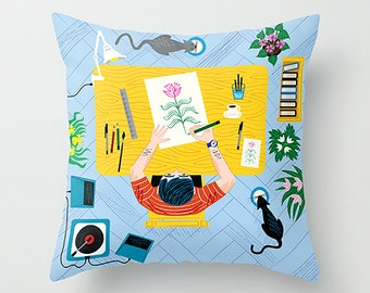"The Artist - Throw Pillow / Cushion Cover (16"" x 16"") iOTA iLLUSTRATION"